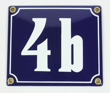 4b blau Clarendon 12x14 cm sofort lieferbar Schild Emaille Hausnummer