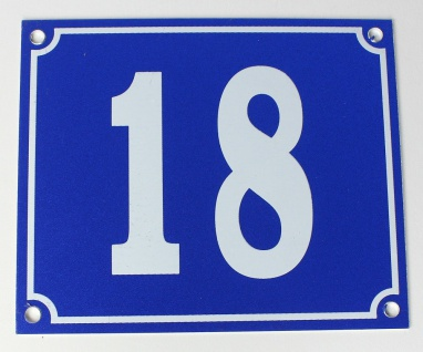 Hausnummernschild Aluminium Aluschild 1 mm Stärke Alu Schild Nr. 18 blau