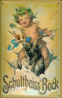 Blechschild Schultheiss Bock Bier Schild Engel nostalgisches Werbeschild - Vorschau