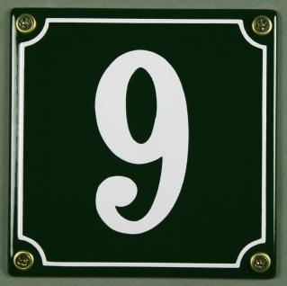 Hausnummernschild 9 grün 12x12 cm sofort lieferbar Schild Emaille Hausnummer ...