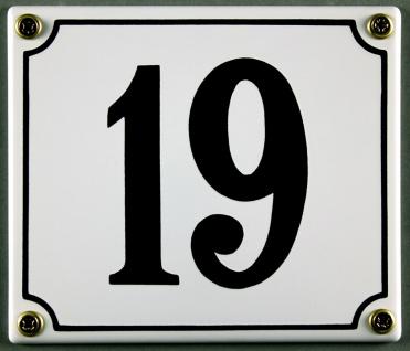 Hausnummernschild 19 weiß 12x14 cm sofort lieferbar Schild Emaille Hausnummer...