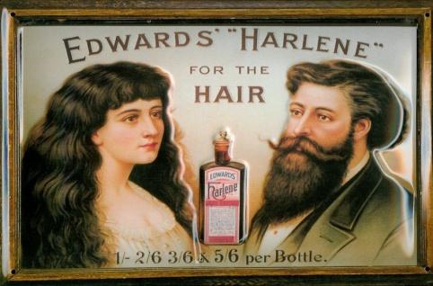 Blechschild Edwards Harlene for the Hair Haarwasser Schild retro Werbeschild ...
