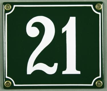 Hausnummernschild 21 grün 12x14 cm sofort lieferbar Schild Emaille Hausnummer...