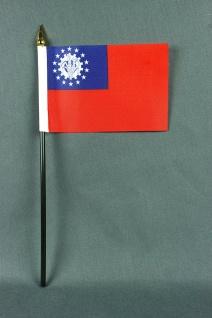 Kleine Tischflagge Myanmar Burma 10x15 cm optional mit Tischfähnchenständer