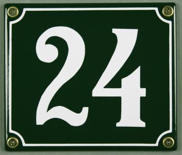 Hausnummernschild 24 grün 12x14 cm sofort lieferbar Schild Emaille Hausnummer...