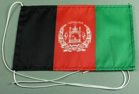 Tischflagge Afghanistan 25x15 cm optional mit Holz- oder Chromständer Tischfa...