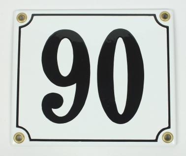 90 weiß Clarendon 12x14 cm sofort lieferbar Schild Emaille Hausnummer