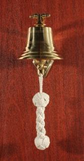 Glocke 100 mm massiv Messing Schiffsglocke mit Bändsel und Wandhalter