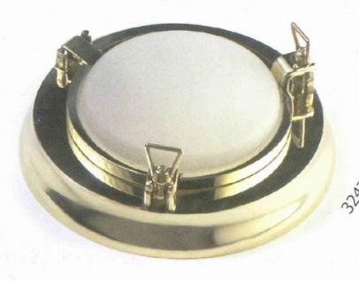 Bullaugenlampe mit 2 Korbmuttern, Messing Durchmesser 27 cm 220 Volt (CHROM)