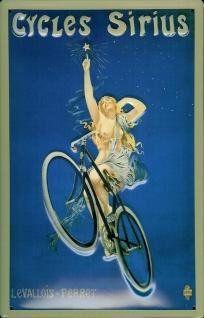 Blechschild Cycles Sirius Fahrrad Frau Schild Nostalgieschild