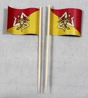 Party-Picker Flagge Sizilien Italien Papierfähnchen in Spitzenqualität 50 Stü...