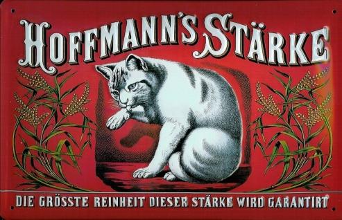 Blechschild Hoffmann Stärke Katze rot quer Schild retro Werbeschild Nostalgie...