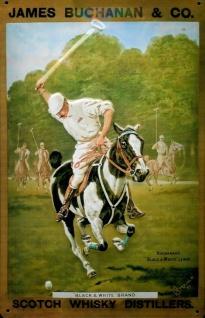 Blechschild Buchanan Scotch Whisky Polo Pferd retro Schild nostalgisches Werb...