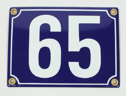65 blau Blockschrift 11x15 cm sofort lieferbar Schild Emaille Hausnummer