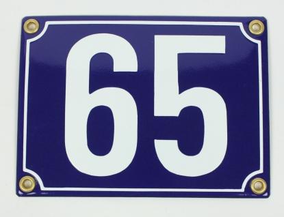65 blau Blockschrift 12x18 cm sofort lieferbar Schild Emaille Hausnummer
