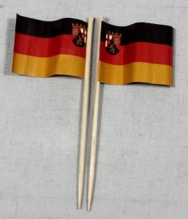 Party-Picker Flagge Rheinland Pfalz Papierfähnchen in Spitzenqualität 50 Stüc...