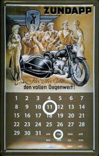 Blechschild Zündapp Motorrad Beiwagen Gespann Moped Magnetkalender Nostalgies...