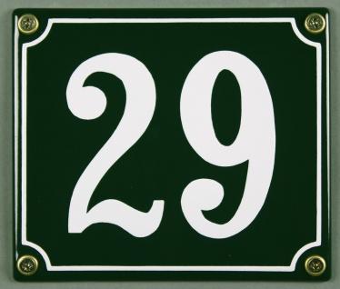 Hausnummernschild 29 grün 12x14 cm sofort lieferbar Schild Emaille Hausnummer...
