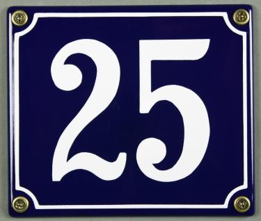Hausnummernschild Emaille 25 blau - weiß 12x14 cm sofort lieferbar Schild Ema...
