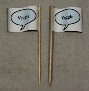 Party-Picker Flagge Veggie Papierfähnchen in Spitzenqualität 50 Stück Beutel