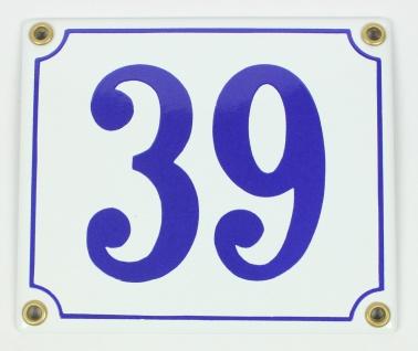 39 weiß/blau Clarendon 12x14 cm sofort lieferbar Schild Emaille Hausnummer