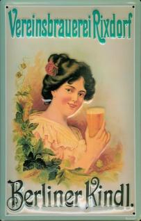 Blechschild Berliner Kindl Vereinsbrauerei Rixdorf Bier retro Reklame Schild