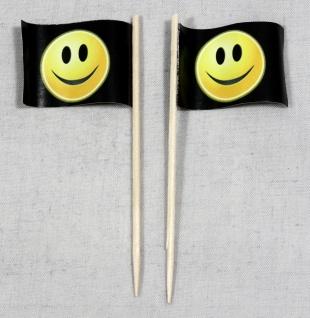 Party-Picker Flagge Smiley schwarz Smily Papierfähnchen in Spitzenqualität 50...