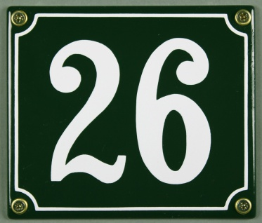 Hausnummernschild 26 grün 12x14 cm sofort lieferbar Schild Emaille Hausnummer...