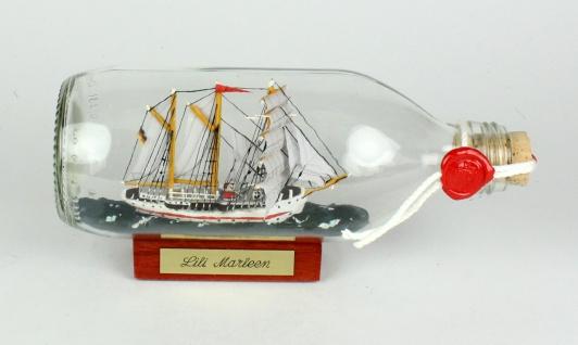 Lili Marleen runde Flasche 0, 3 Liter Buddelschiff Museumsqualität