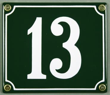 Hausnummernschild 13 grün 12x14 cm sofort lieferbar Schild Emaille Hausnummer...