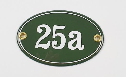25a grün / weiß oval 10, 5x7 cm sofort lieferbar Schild Emaille Namensschild T...