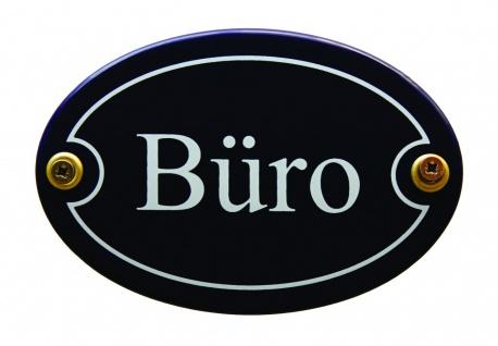 Emaille Türschild Büro blau oval Schild Emailleschild Metallschild Blechschild