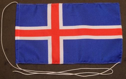 Tischflagge Island 25x15 cm optional mit Holz- oder Chromständer Tischfahne T...