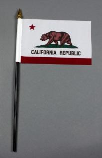 Kleine Tischflagge Kalifornien California 10x15 cm optional mit Tischfähnchen...