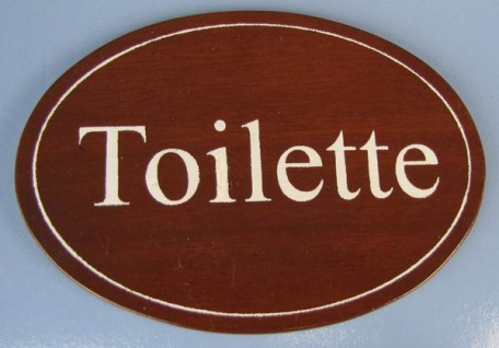 Ovales Holz - Türschild Toilette 7x10 cm dunkles Holzschild