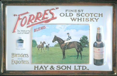 Blechschild Forres Scotch Whisky Pferd retro Schild nostalgisches Werbeschild