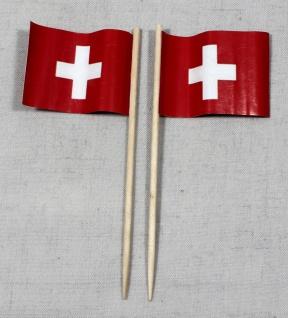 Party-Picker Flagge Schweiz rechteckig Papierfähnchen in Spitzenqualität 50 S...