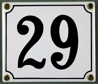 Hausnummernschild 29 weiß 12x14 cm sofort lieferbar Schild Emaille Hausnummer...
