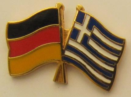 Griechenland / Deutschland Freundschafts Pin Anstecker Flagge Fahne Nationalf...