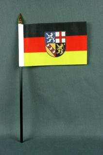 Kleine Tischflagge Saarland 10x15 cm optional mit Tischfähnchenständer