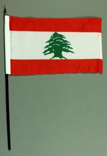 Tischflagge Libanon 15x25 cm BASIC optional mit Tischflaggenständer