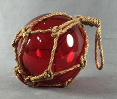 Deko Fischerkugel aus Glas rot 13 cm Tauwerk Netz - Vorschau