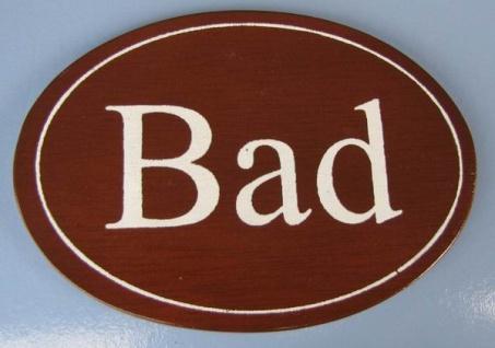 Ovales Holz - Türschild Bad 7x10 cm dunkles Holzschild