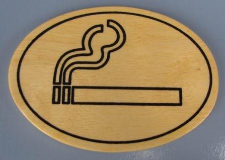 Ovales Holz - Türschild Rauchen erlaubt Piktogramm 7x10 cm helles Holzschild