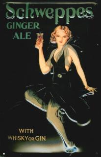 Blechschild Schweppes Ginger Ale Whisky or Gin retro Schild Nostalgieschild