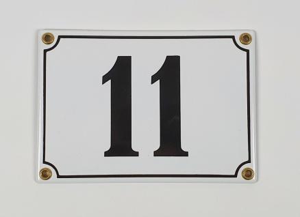 11 weiß / schwarz Clarendon 17x12 cm sofort lieferbar Schild Emaille Hausnummer