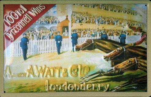 Blechschild Tyrconnell Whisky Pferderennen Londonderry Pferd Schild Nostalgie...