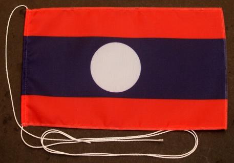Tischflagge Laos 25x15 cm optional mit Holz- oder Chromständer Tischfahne Tis...