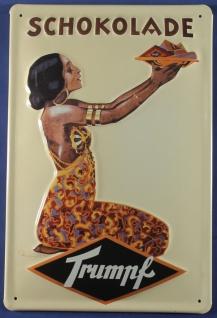 Blechschild Trumpf Schokolade Schild Nostalgieschild Werbeschild