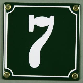 Hausnummernschild 7 grün 12x12 cm sofort lieferbar Schild Emaille Hausnummer ...
